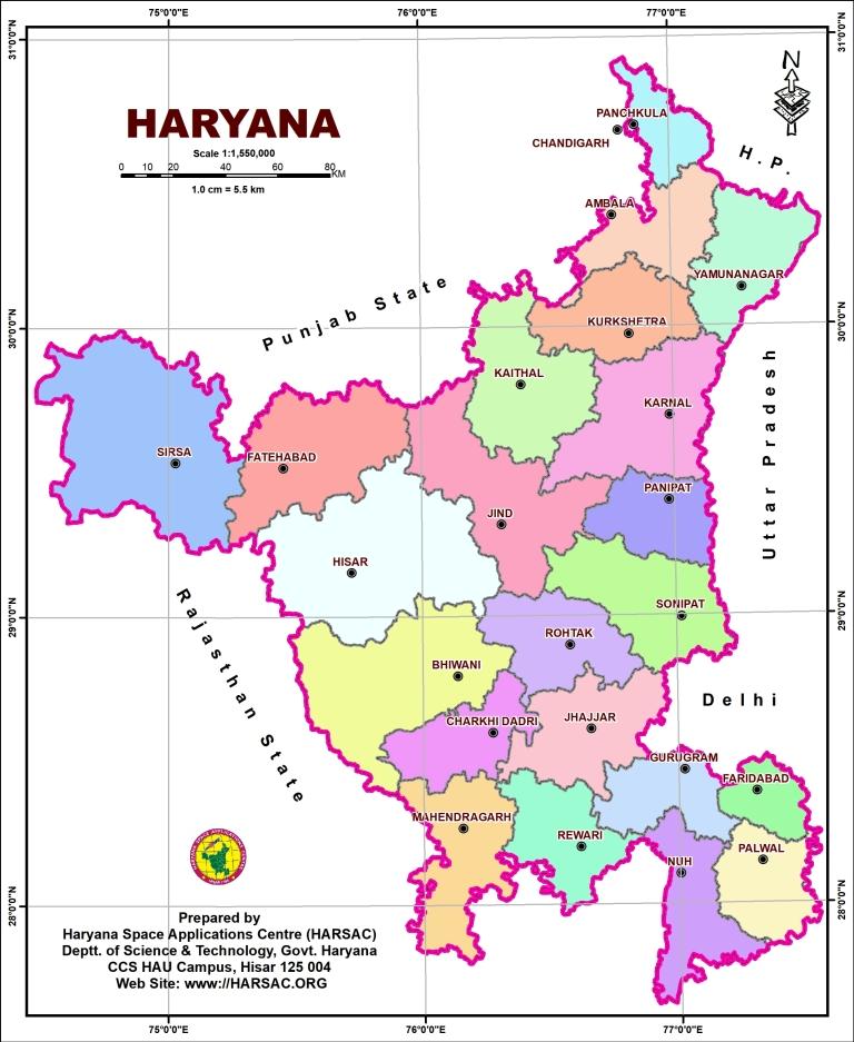 Map Of Haryana (हरियाणा का मानचित्र)