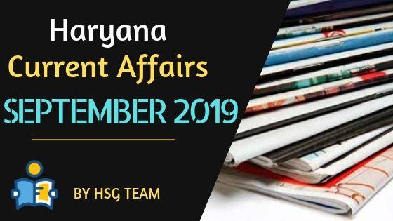 Haryana Current Affairs September 2019