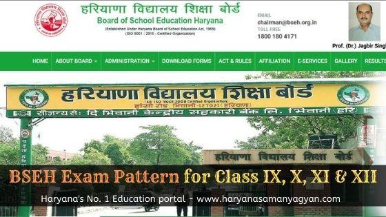 BSEH Exam Pattern for Class IX, X, XI & XII